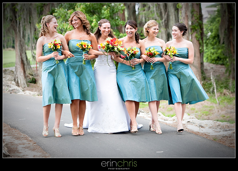 Tampa wedding photo with bridesmaids walking