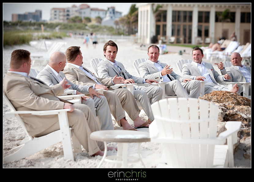Groom and Groomsmen Wedding Photo at the Sandpearl Resort