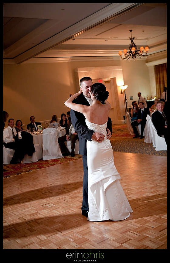 bride and groom first dance at tampa marriott