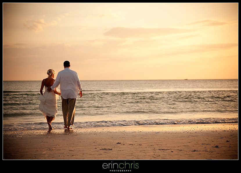 Sunset wedding picture on St. Pete Beach at the Grand Plaza